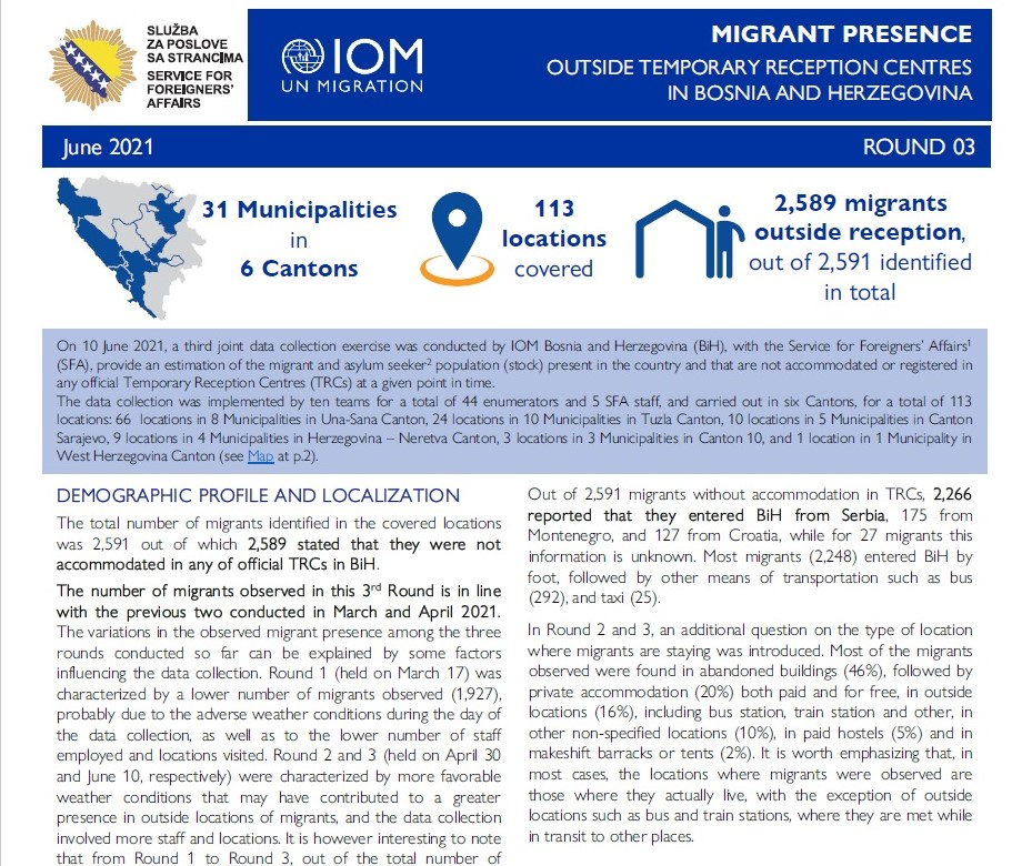 IOM in BiH and BiH Service for Foreigners' Affairs: June 2021 Displacement Tracking Matrix