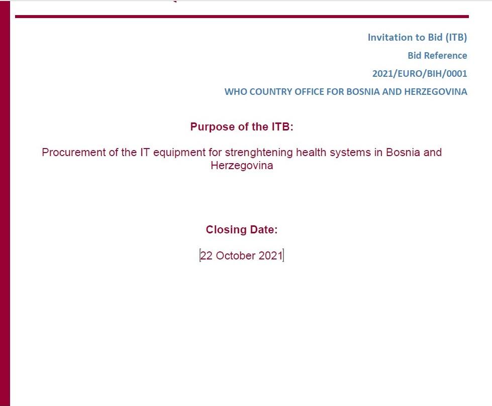 WHO Invitation to bid: PROCUREMENT OF IT EQUIPMENT